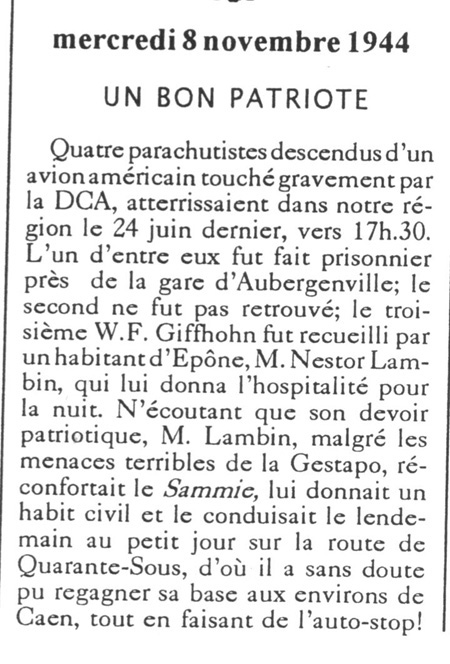 Article Courrier de Mantes du 8 novembre 1944