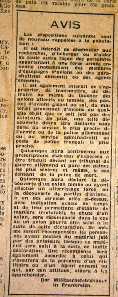 Avis publié dans la presse sous l'occupation allemande
